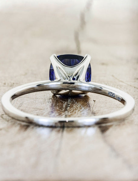 elegant blue sapphire engagement ring - basket view