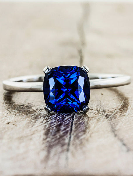 simple cushion cut blue sapphire ring