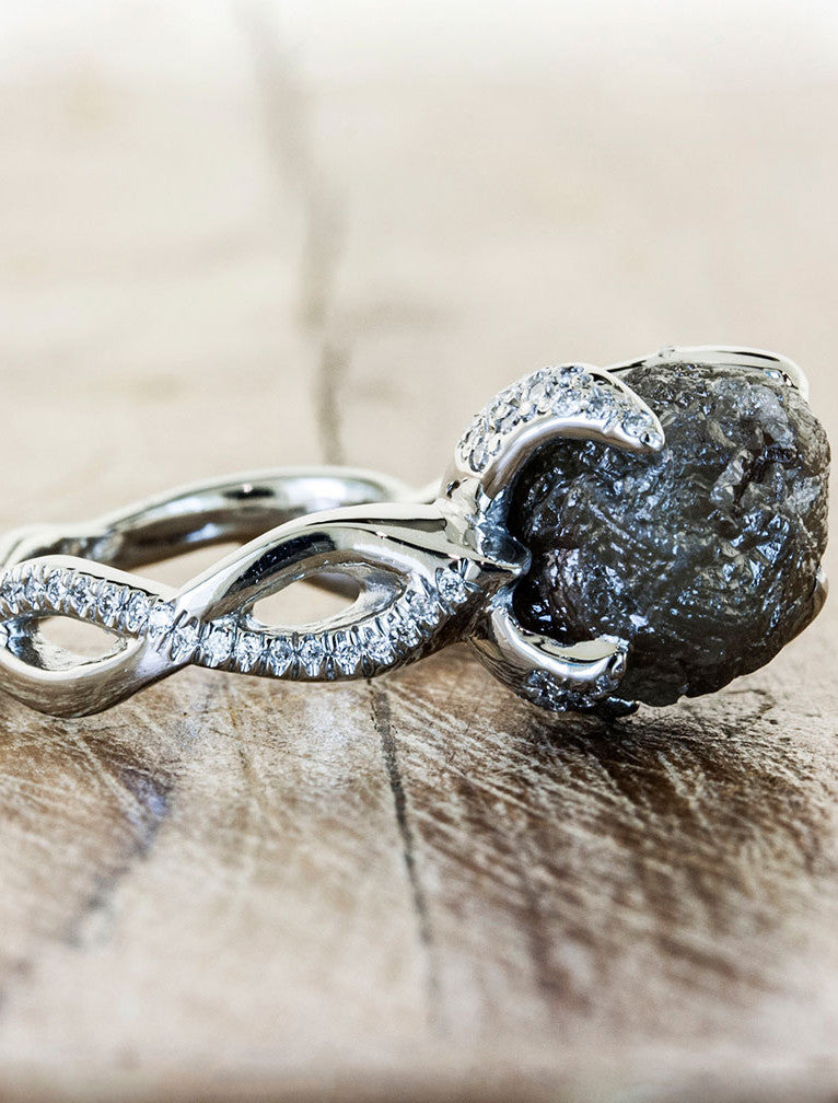 Nature Inspired Rough black Diamond Engagement Ring