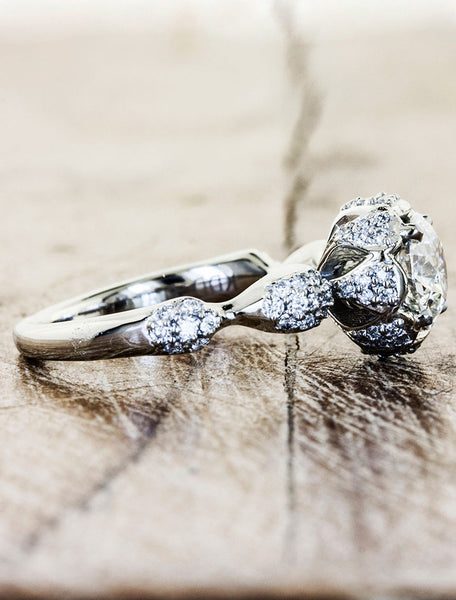 Unique Custom Engagement Rings by Ken & Dana Design - Majesty side view