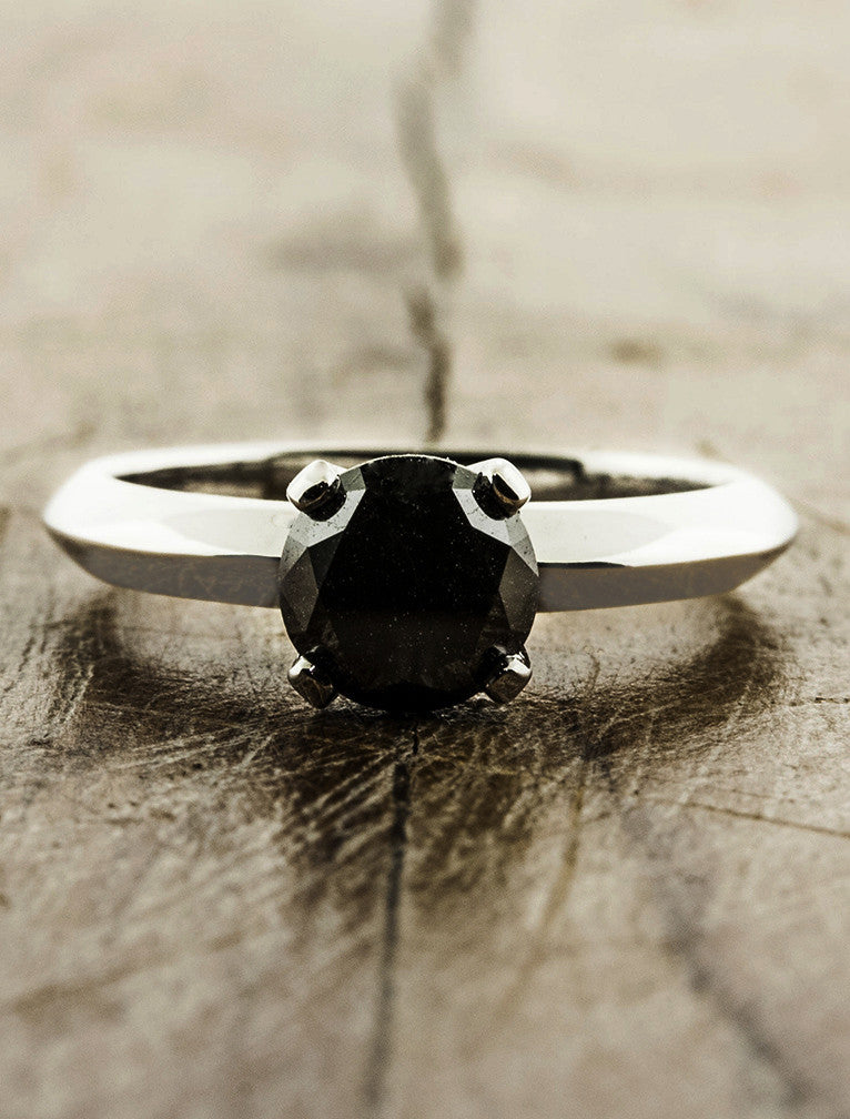 Sora Black Diamond Solitaire Engagement Ring Ken Amp Dana