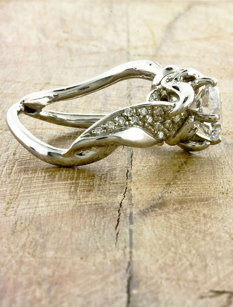 2 ct nature inspired split shank diamond engagement ring, pave set diamond band
