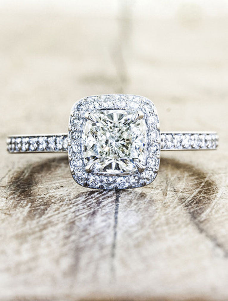 Unique Engagement Rings by Ken & Dana Design - Cora top view. caption:Shown with an 1ct cushion cut diamond