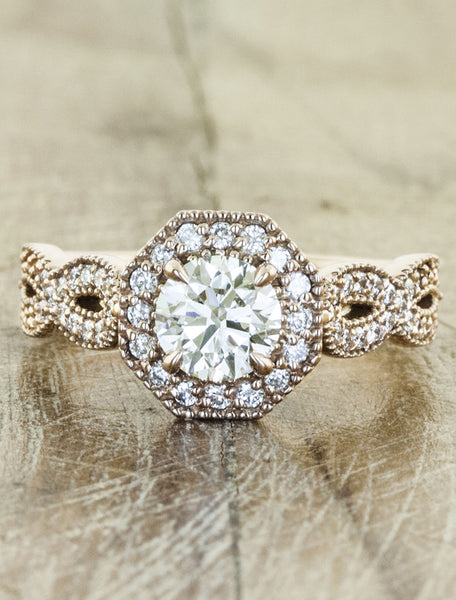 Vintage halo;caption:0.75ct. Round Diamond 14k Rose Gold