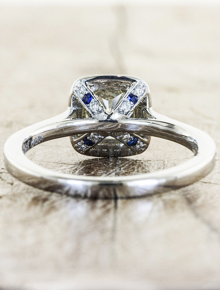 cushion cut diamond ring with halo, pave band with sapphire accents