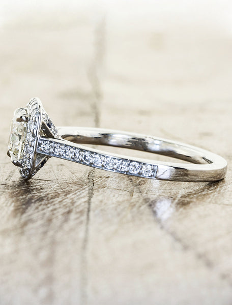 cushion cut diamond ring with halo, pave band