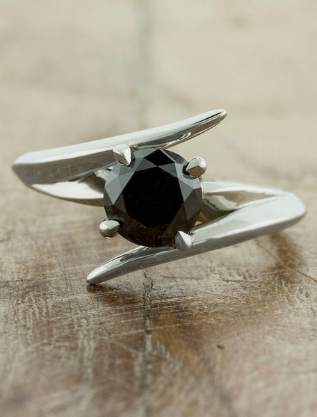 Unique modern engagement ring. caption:Customized with a 0.95ct. Round Black Diamond, 14k White Gold