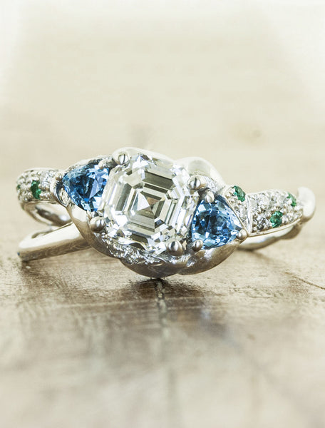 Unique nature inspired engagement ring split shank;caption:1.50ct. Asscher Cut Diamond and Blue Topaz 14k White Gold