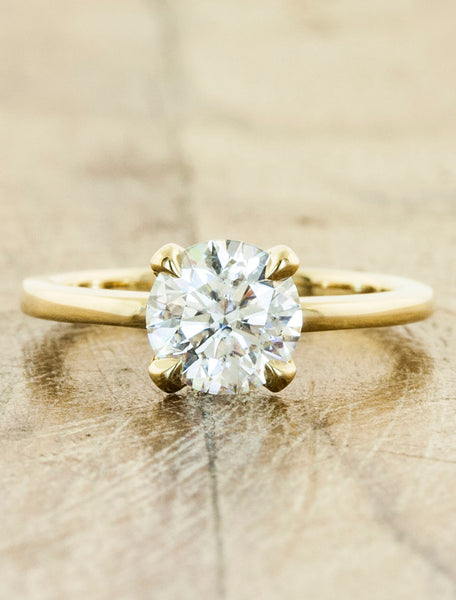 Classic solitaire - Ariya caption:1.00ct. Round Diamond 14k Yellow Gold