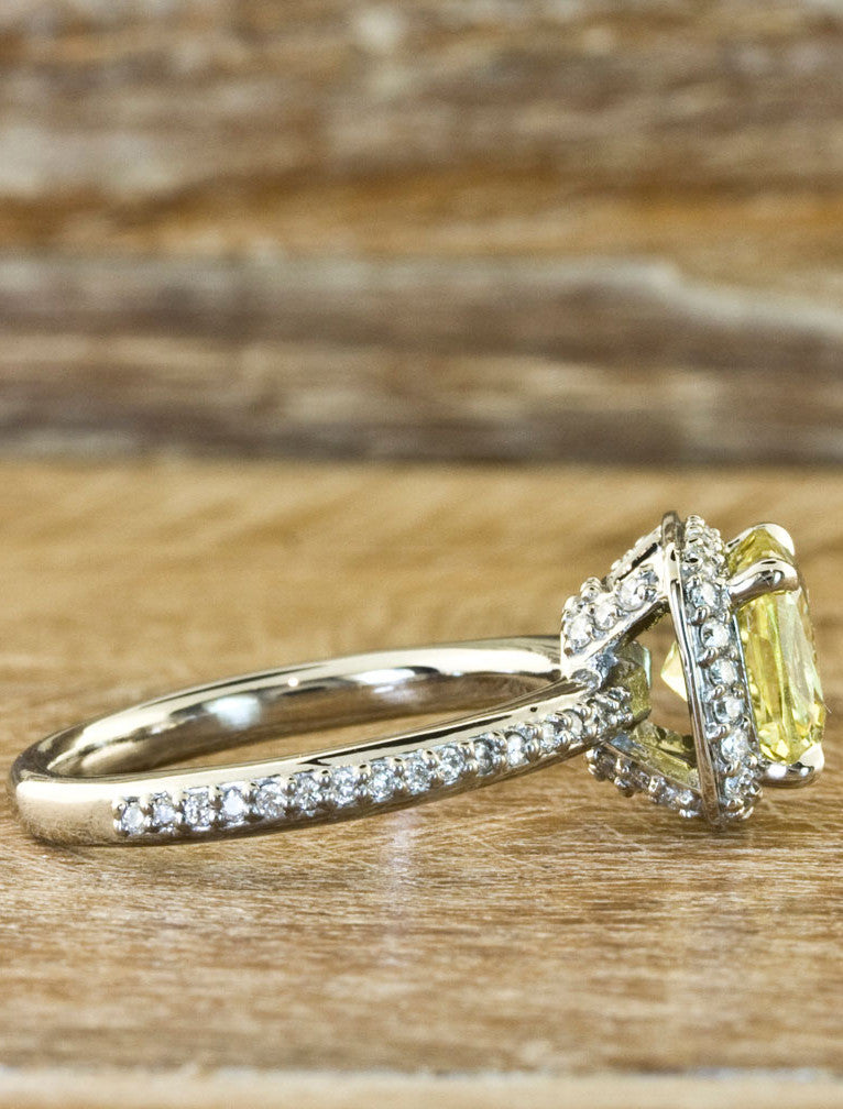 Cushion Yellow Sapphire Halo Engagement Ring