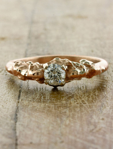organic sculptural diamond engagement ring - rose gold, rhodium plated