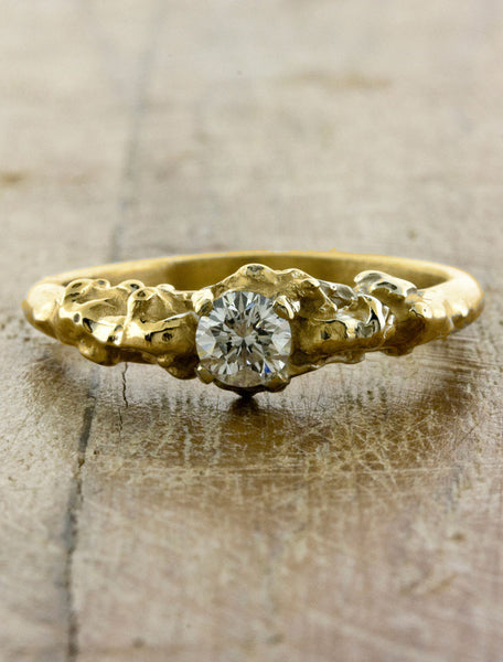 organic sculptural diamond engagement ring - gold, rhodium plated
