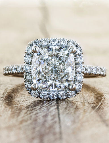 Halo engagement ring caption:2.50ct. Cushion Cut Diamond Platinum