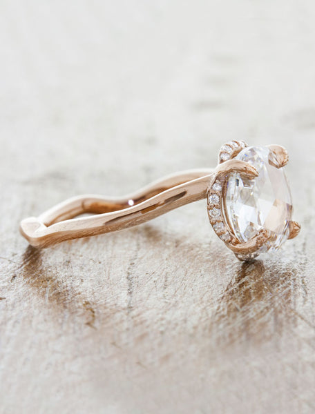 Rose Cut Diamond Halo Nature Inspired Engagement Ring