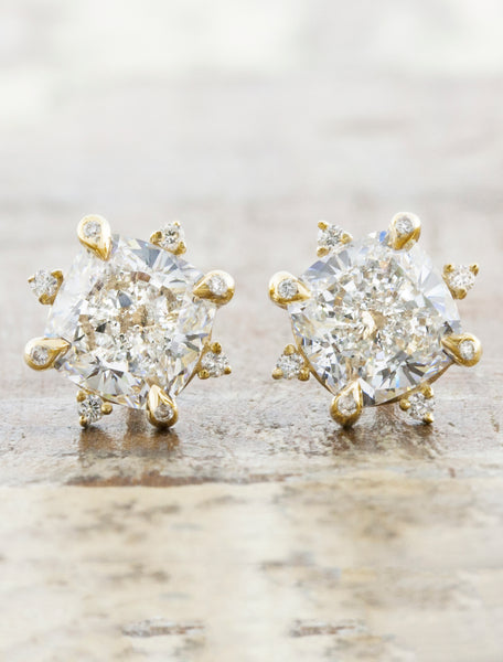 Star Design Earrings caption:Shown with 2ct total weight Cushion Diamonds set in 14k Yellow Gold