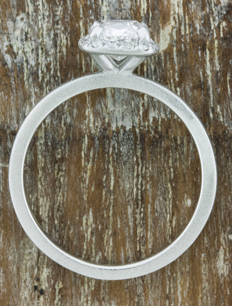 halo cushion cut diamond ring, brushed white gold setting