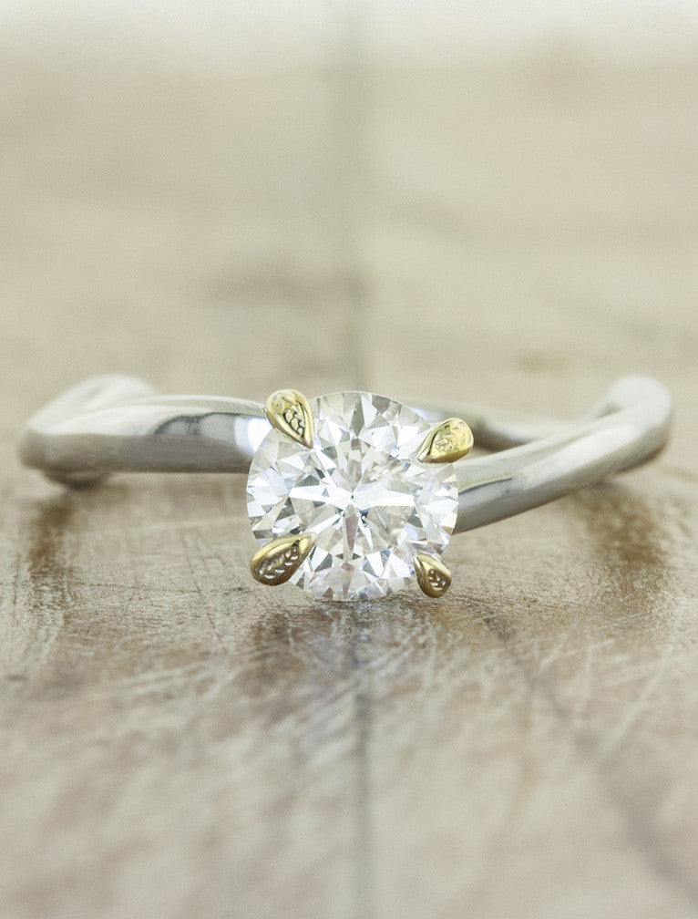 Nature Inspired Leaf Prong Engagement Ring