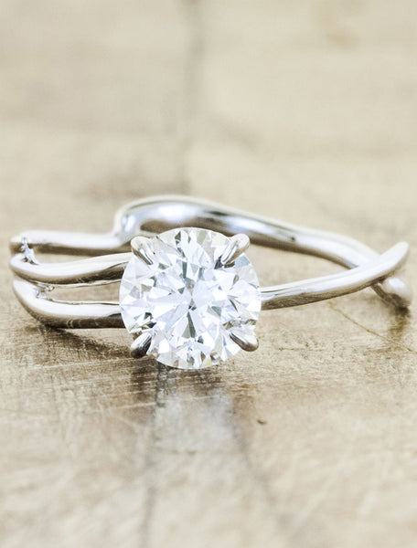 modern sculptural round diamond engagement ring - split shank