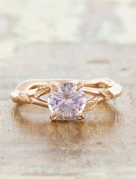 Nature inspired engagement ring;caption:1.00ct. Round Morganite 14k Rose Gold