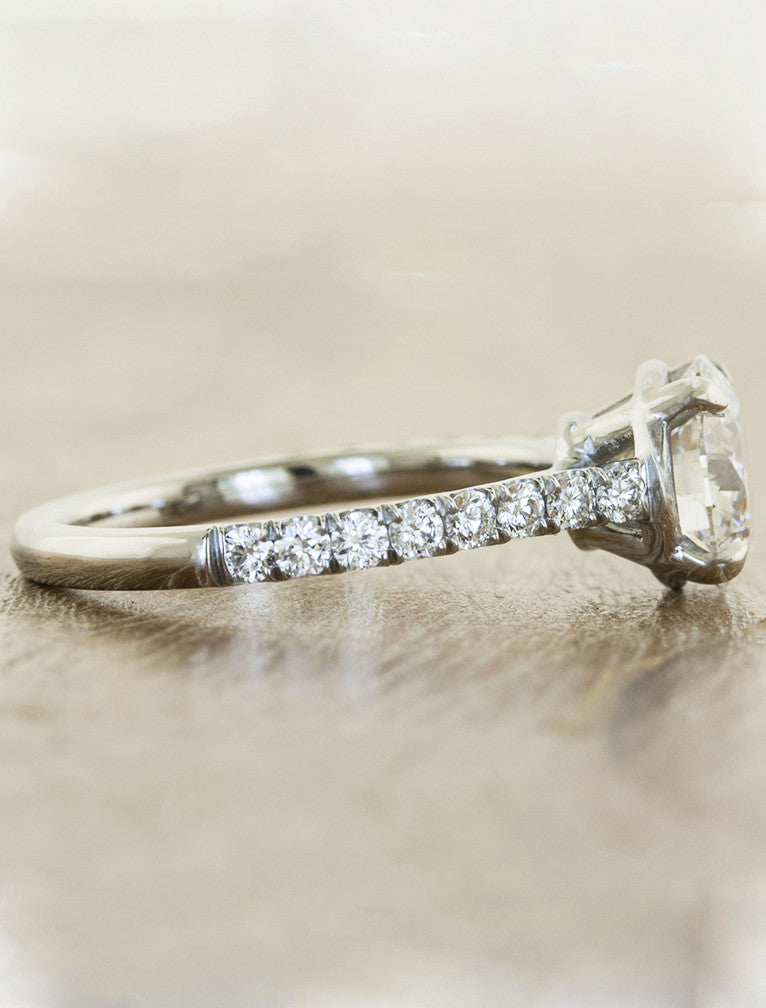 classic diamond solitaire engagement ring, micropave band