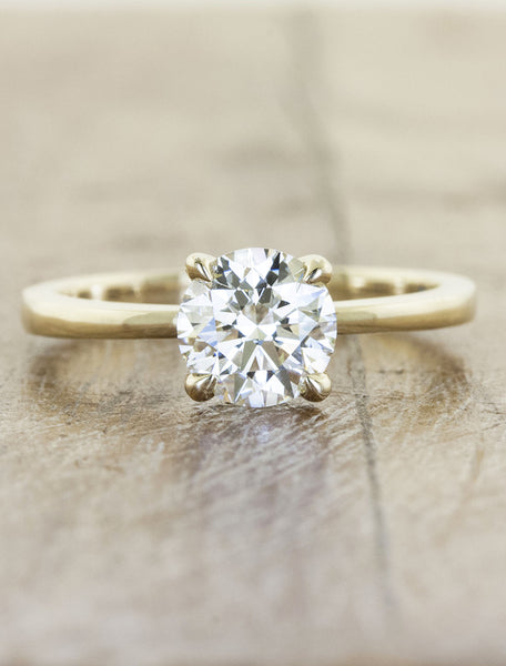 Engagement ring tapered band;caption:1.00ct. Round Diamond 14k Yellow Gold