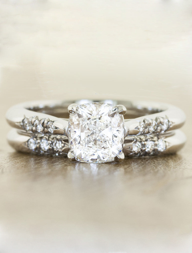 Unique vintage inspired engagement ring;caption:1.25ct. Cushion Cut Diamond 14k White Gold paired with Abby wedding band