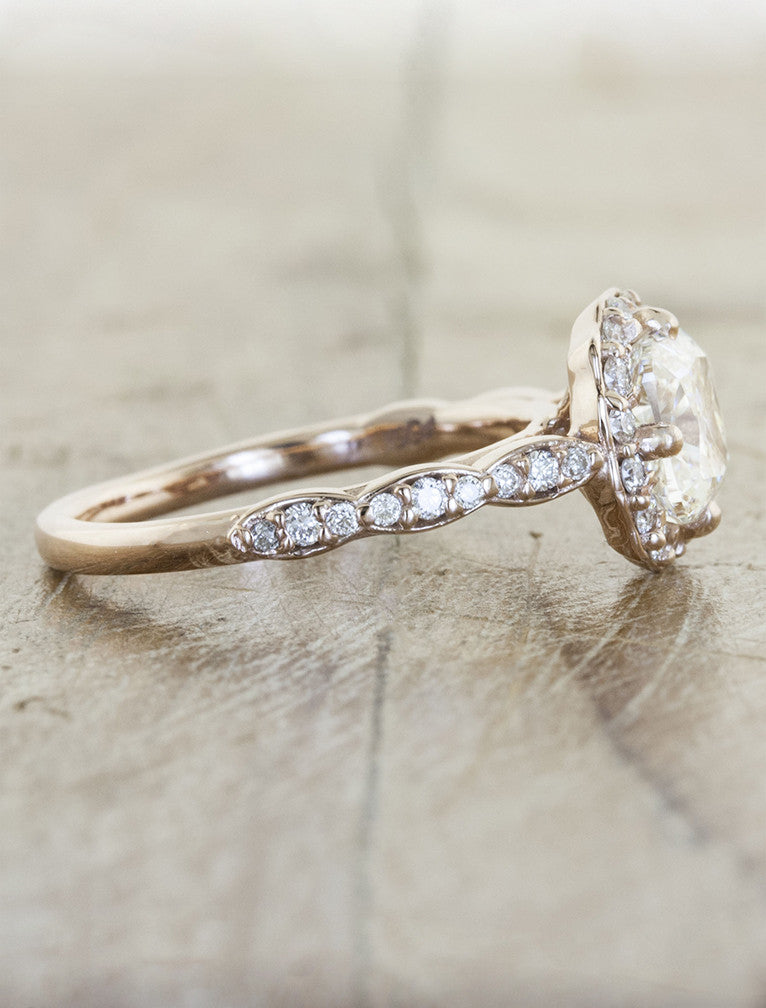diamond accented band, delicate unique halo cushion cut ring