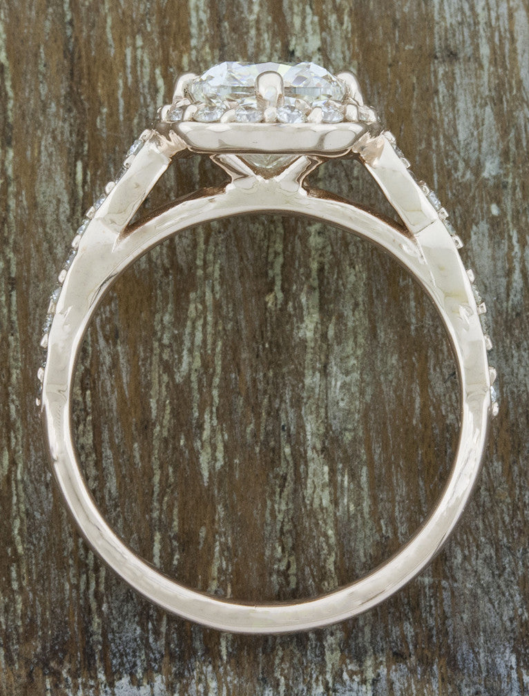 delicate unique halo cushion cut diamond engagement ring