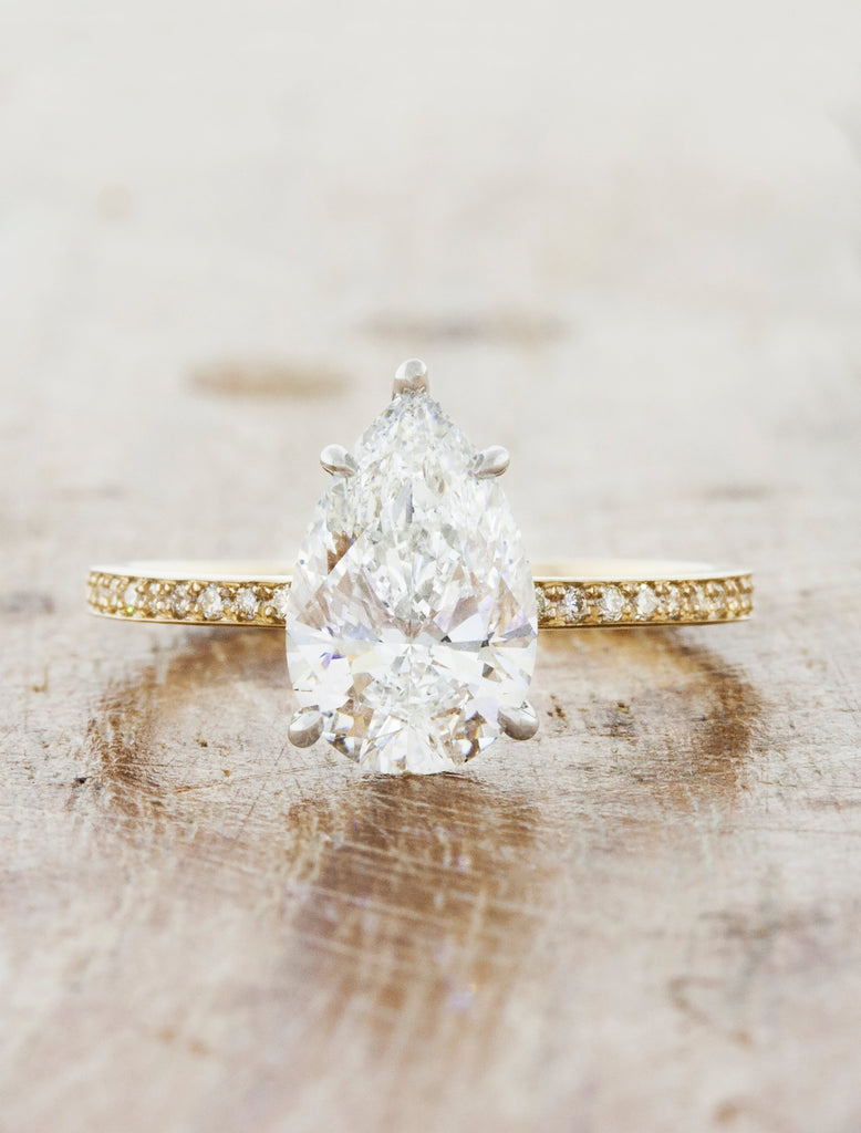 Pear Diamond Engagement Ring, Mixed Meta