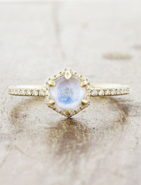 Moonstone halo engagement RIng