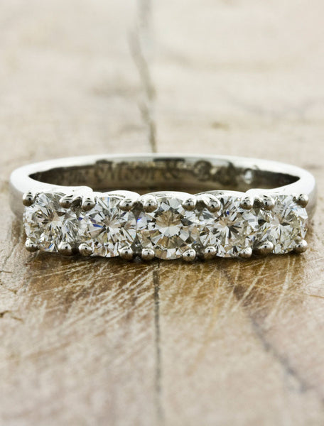 multistone diamond wedding band, woven setting