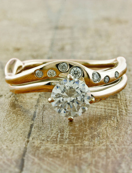 Rose gold engagement ring - Aurora caption:0.90ct. Round Diamond 14k Rose Gold paired with Sati wedding band