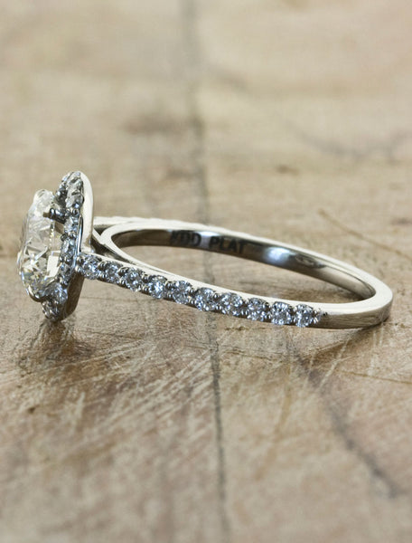 diamond halo engagement ring by Ken & Dana Design
