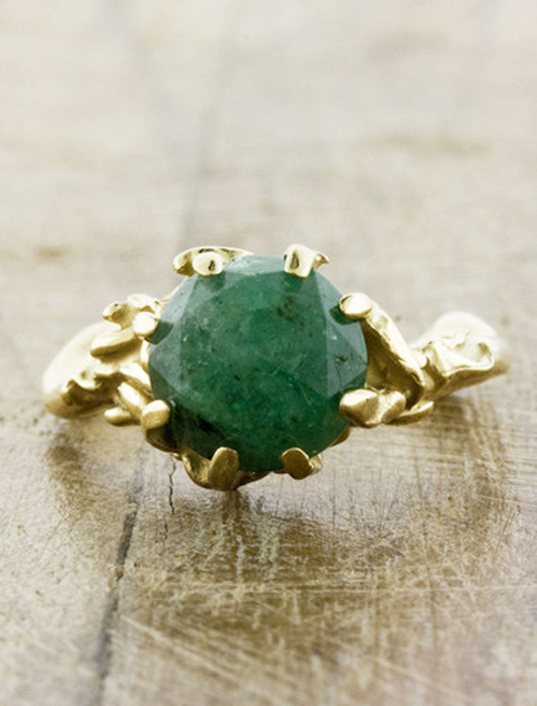 Unique Engagement Rings by Ken & Dana Design - Colette Emerald top view