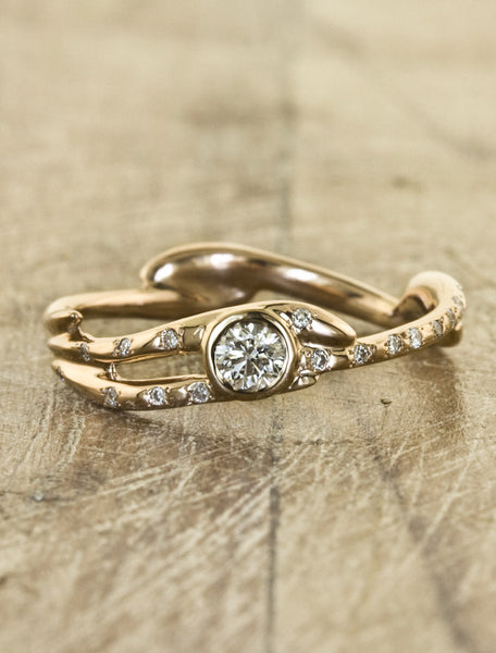 Nature inspired engagement ring;caption:Pictured in 14k Rose Gold