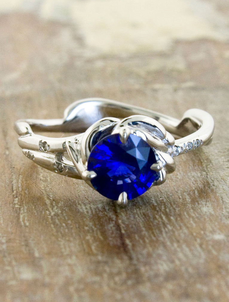 Unique Engagement Rings by Ken & Dana Design - Daya Sapphire top view