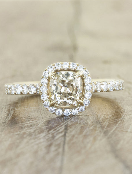 Nature Inspired Champagne Diamond Halo Engagement Ring