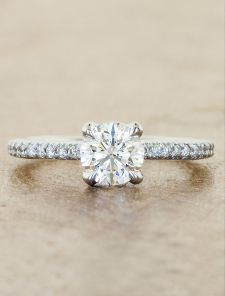 Classic solitaire pave diamond band;caption:0.80ct. Round Diamond Platinum