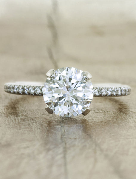 Classic round diamond solitaire;caption:1.25ct. Round Diamond 14k White Gold