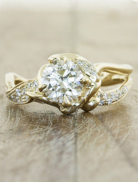 unique nature-inspired sculptural split shank pave band - diamond engagement ring caption:1.00ct. Round Diamond 14k Yellow Gold