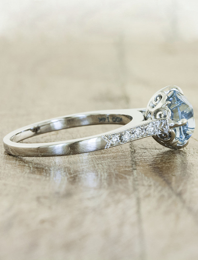 Aquamarine Vintage Inspired Engagement Ring