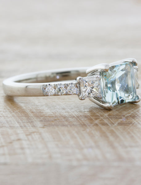 Classic Three Stone Princess Cut Aquamarine Ring