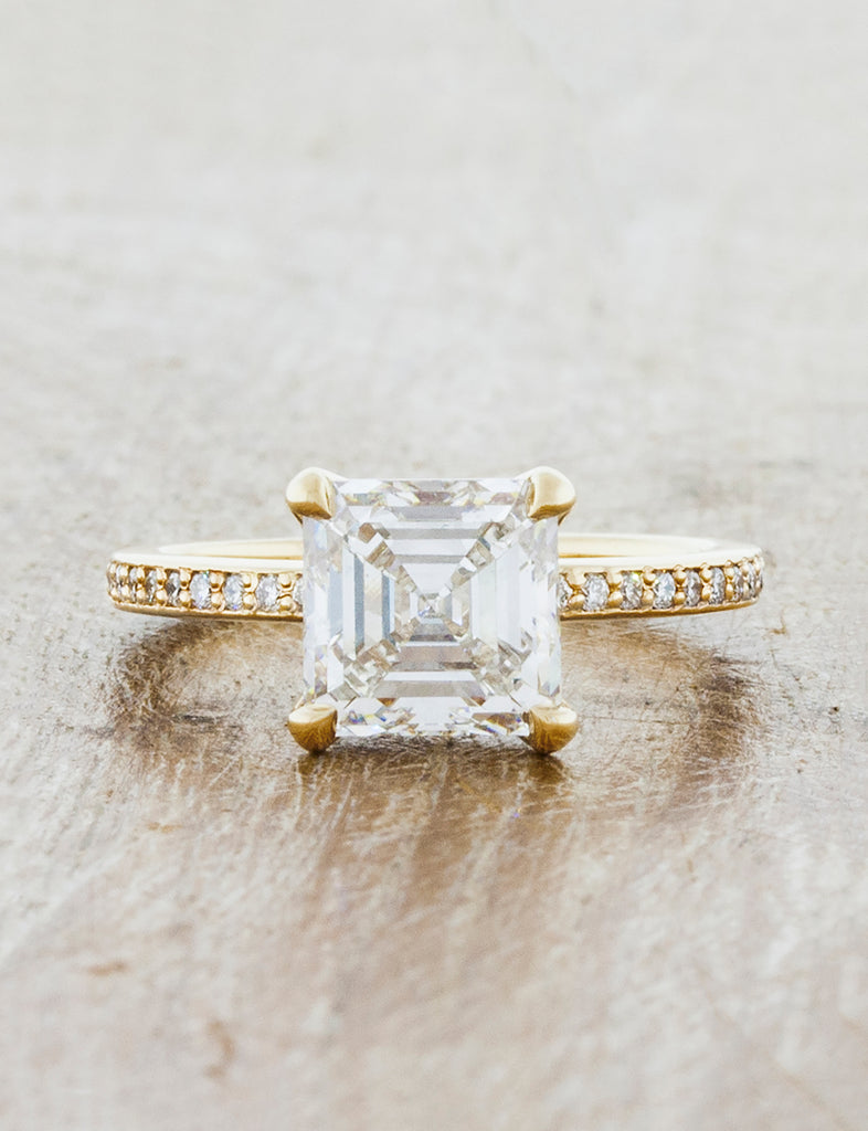 Classic solitaire pave band;caption:2.00ct. Asscher Cut Diamond 14k Yellow Gold
