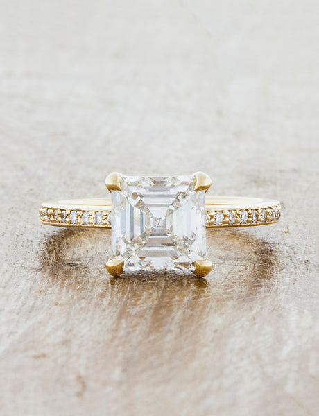Classic solitaire pave band. caption:Customized with a 2.00ct. Asscher Cut Diamond, 14k Yellow Gold