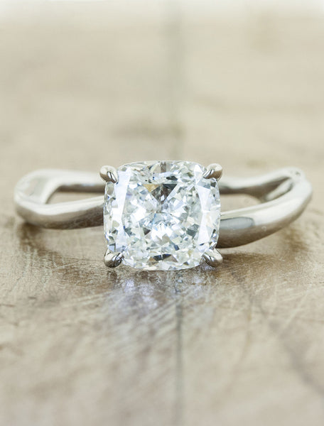 Organic design cushion cut engagement ring - Aurora;caption:1.25ct. Cushion Cut Diamond 14k White Gold