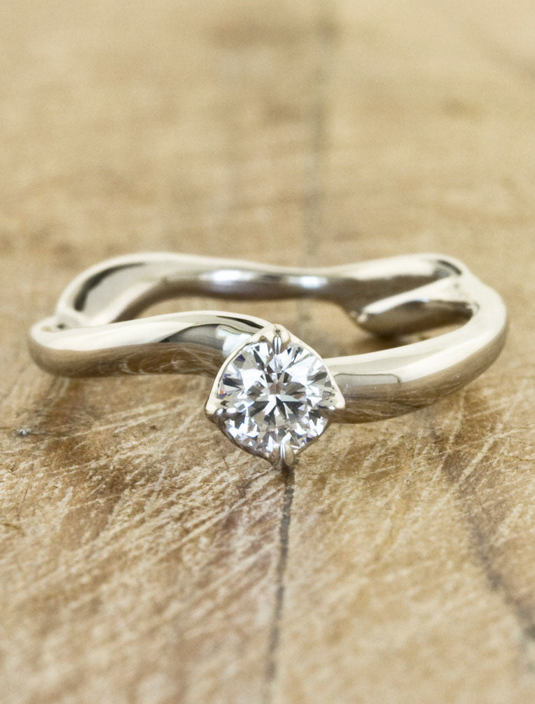 Nature inspired engagement ring - Aurora caption: 0.26ct. Round Diamond Platinum