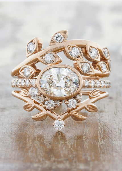 Nature Inspired Oval Bezel Diamond Engagement Ring caption: 0.80ct. Oval Diamond 14k Rose Gold
