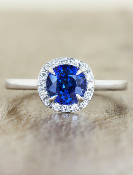 halo sapphire engagement ring, plain band