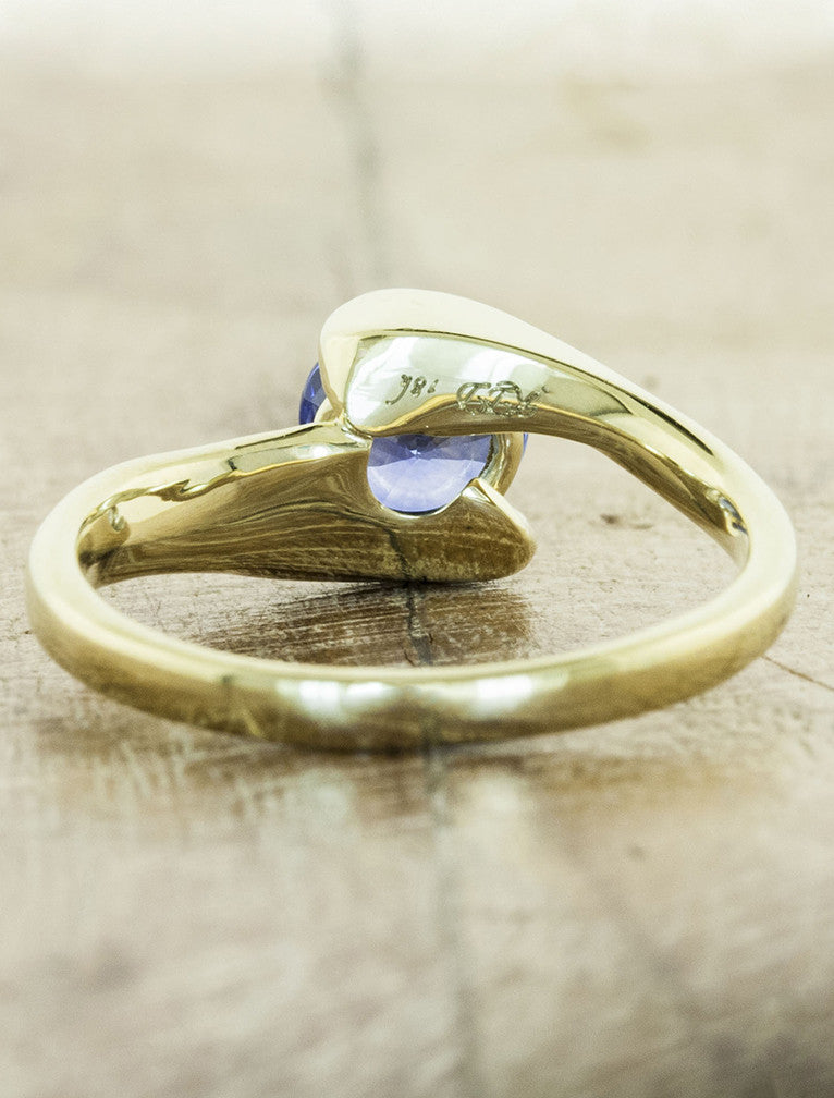 asymmetrical band sapphire engagement ring