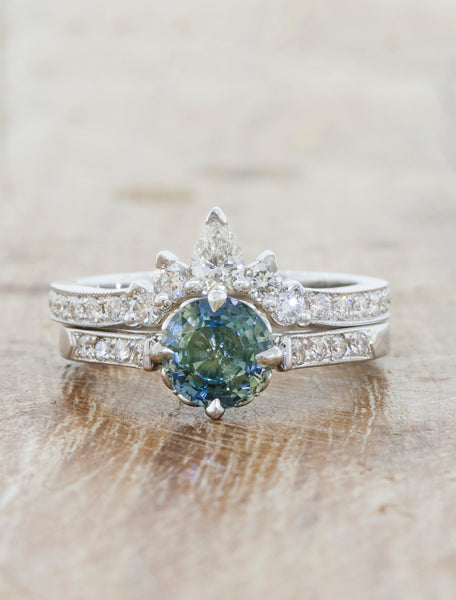 montana sapphire wedding ring set
